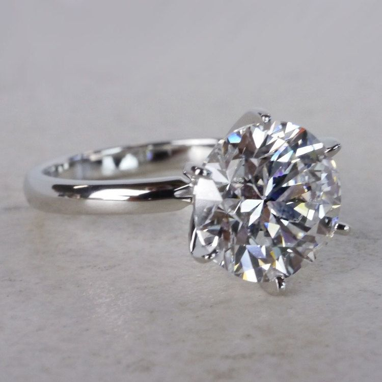 Classic Solitaire 4 Carat Diamond Ring angle 3