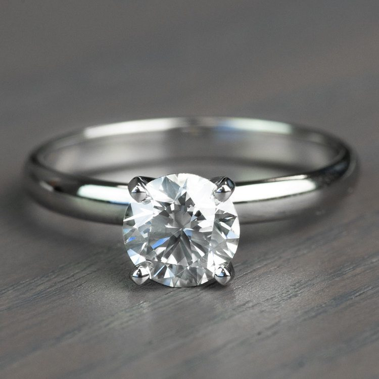Classic Solitaire Band and 1.24 Carat Diamond Engagement Ring