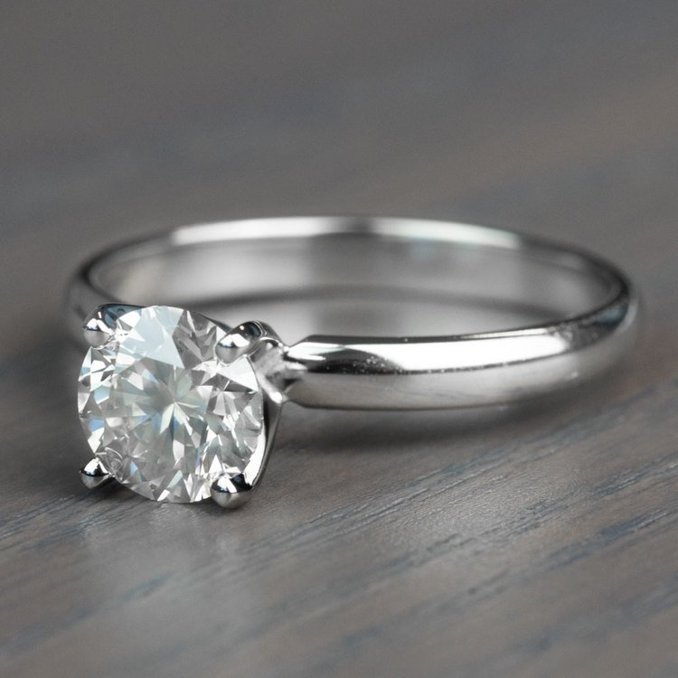 Classic Solitaire Band and 1.24 Carat Diamond Engagement Ring angle 2