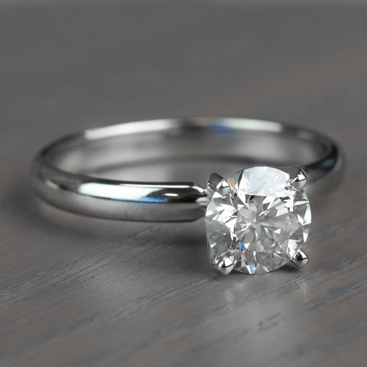 Classic Solitaire Band and 1.24 Carat Diamond Engagement Ring angle 3