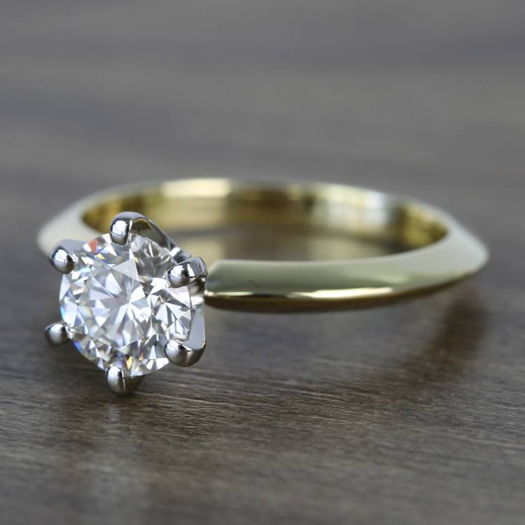 Classic Solitaire Engagement Ring in 18k Yellow Gold with Platinum Prongs angle 2
