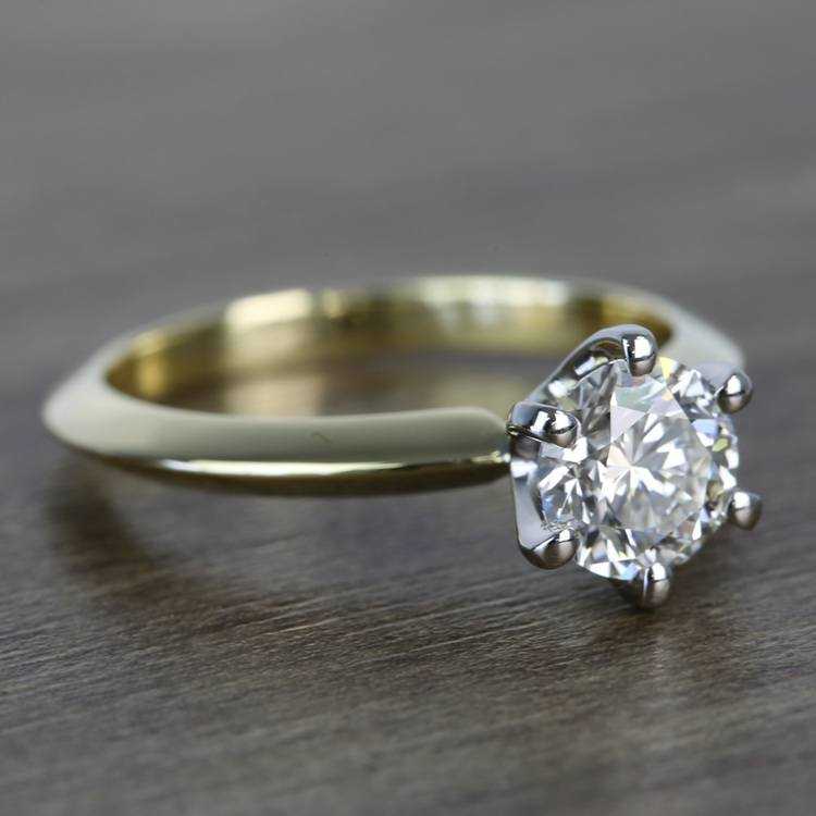 Classic Solitaire Engagement Ring in 18k Yellow Gold with Platinum Prongs angle 3