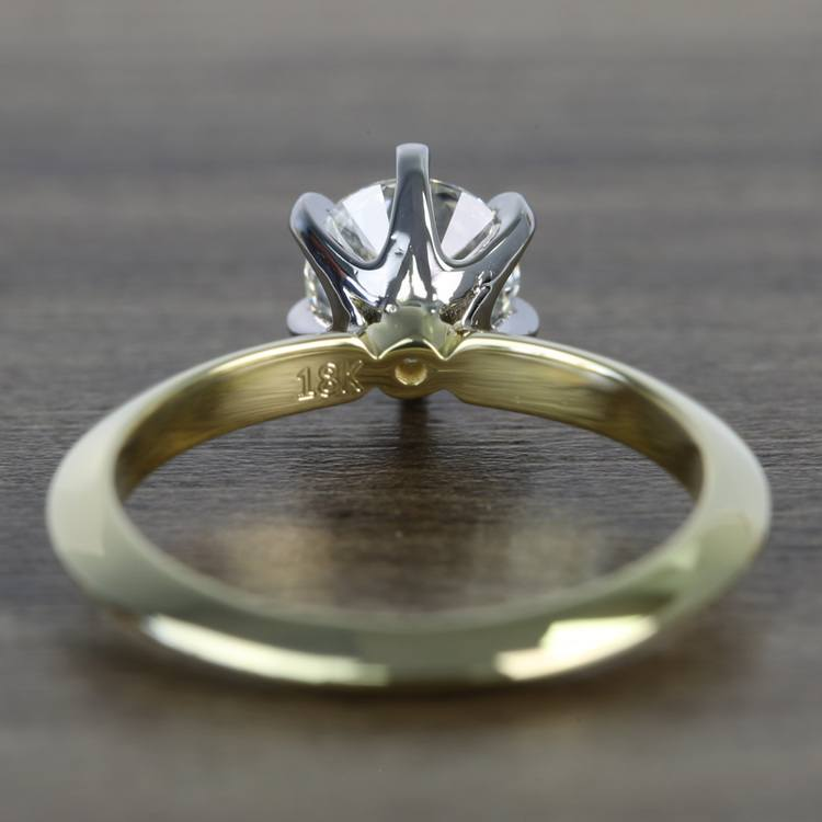 Classic Solitaire Engagement Ring in 18k Yellow Gold with Platinum Prongs angle 4