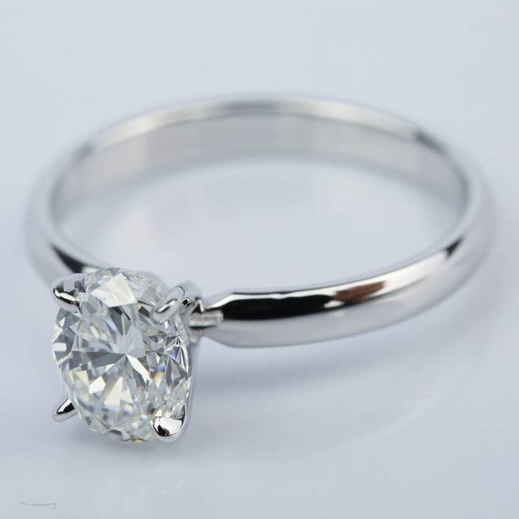 Classic Solitaire Engagement Ring with Oval Diamond (1.23 ct.) angle 2