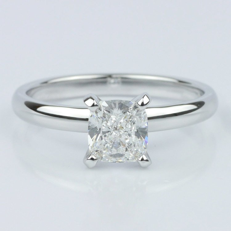 Classic Solitaire Ring with Cushion Diamond