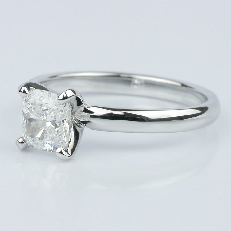 Classic Solitaire Ring with Cushion Diamond angle 2