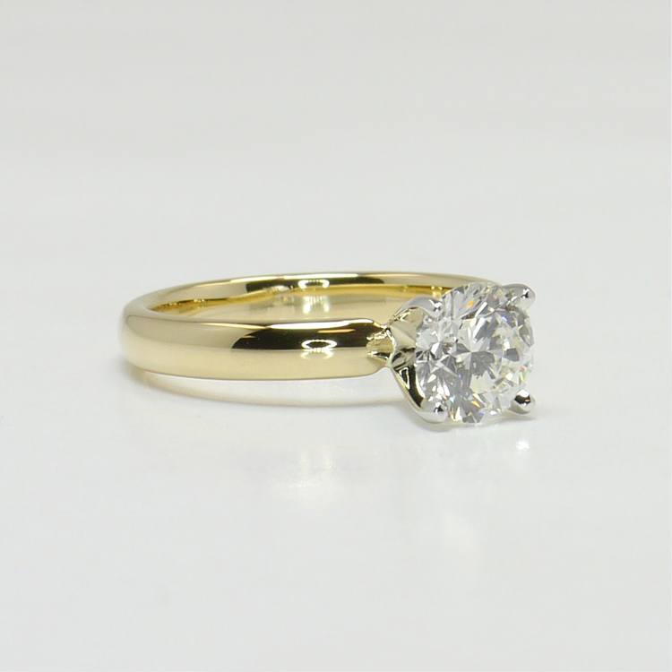 Classic 1 Carat Solitaire Round Diamond Engagement Ring angle 3