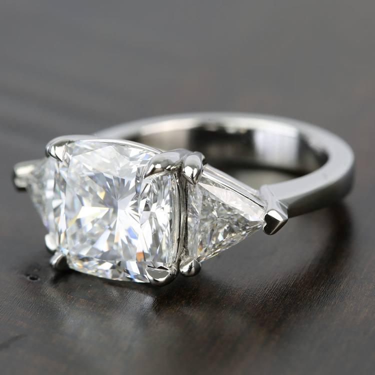 Claw Prong 4 Carat Cushion & Trillion Diamond Engagement Ring angle 2