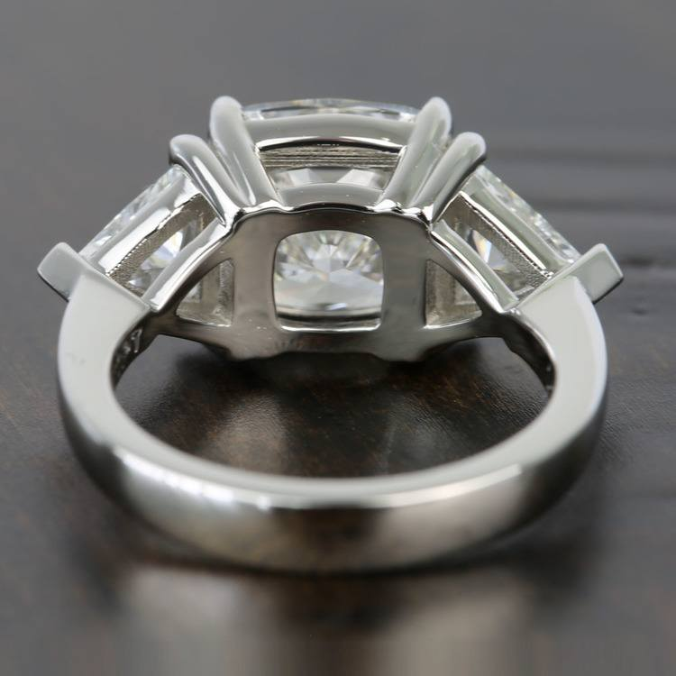 Claw Prong 4 Carat Cushion & Trillion Diamond Engagement Ring angle 4