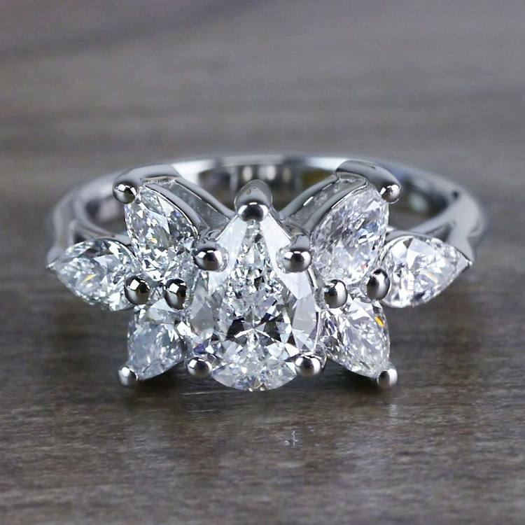 Clustered Butterfly Diamond Pear Shaped Engagement Ring