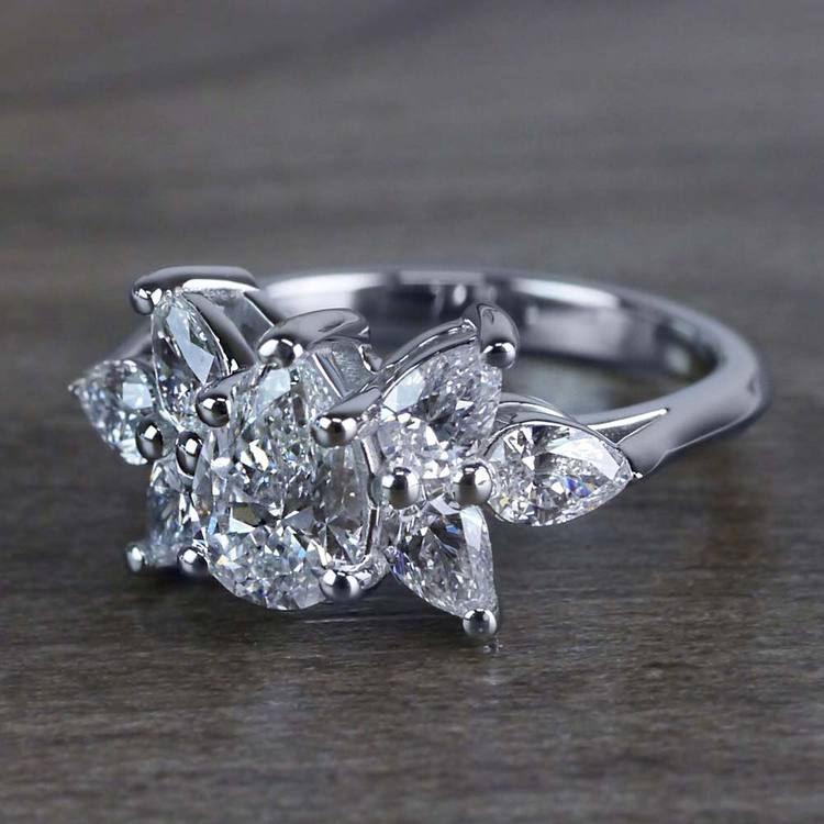 Clustered Butterfly Diamond Pear Shaped Engagement Ring angle 2