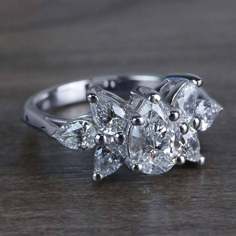 Clustered Butterfly Diamond Pear Shaped Engagement Ring angle 3