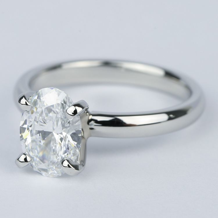 Flawless Oval Diamond Solitaire Engagement Ring angle 2
