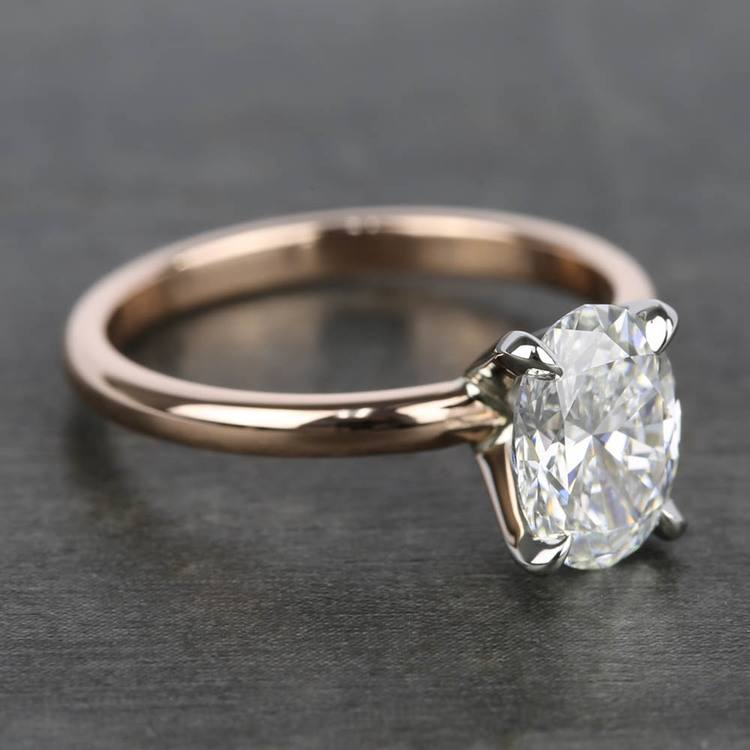1.40 Carat Oval Diamond Solitaire Ring with Claw Prongs angle 3