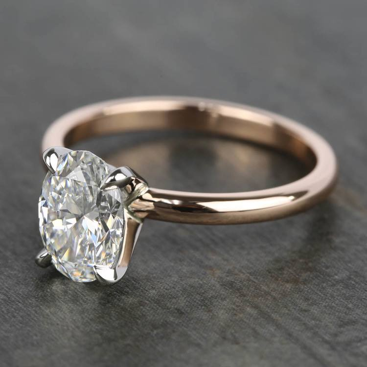 1.40 Carat Oval Diamond Solitaire Ring with Claw Prongs angle 2