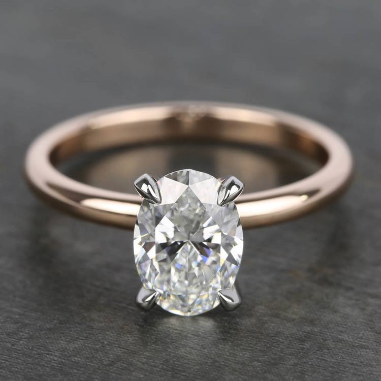 1.40 Carat Oval Diamond Solitaire Ring With Claw Prongs