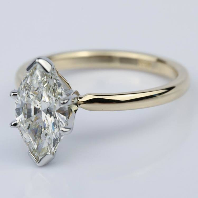 Comfort-Fit 1.51 Carat Marquise Solitaire Engagement Ring angle 2