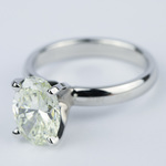 Engagement Ring with L Color Oval Cut Diamond - small angle 2