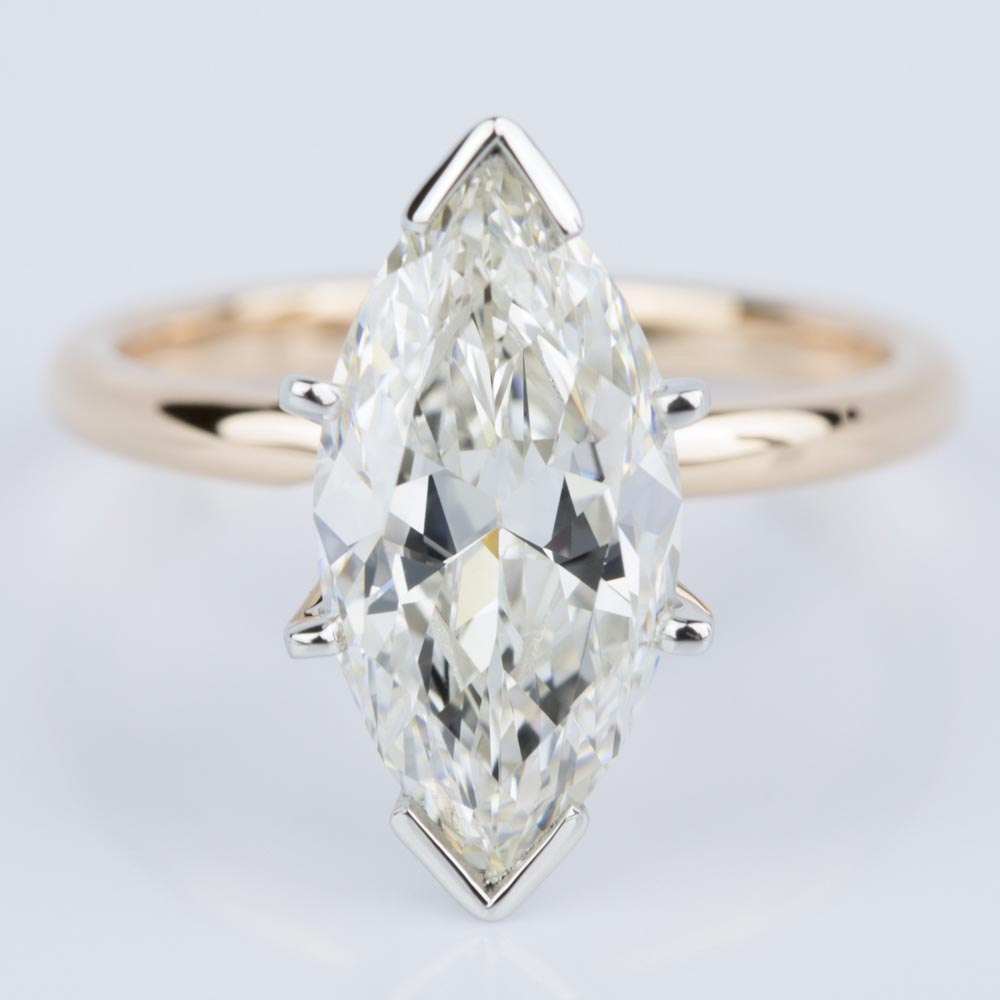Comfort Fit Marquise Solitaire Diamond Engagement Ring in