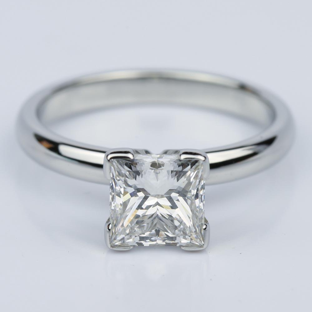 Comfort fit princess cut diamond solitaire engagement ring