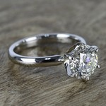 2 Carat Round Diamond in Platinum Six-Prong Ring Setting - small angle 3