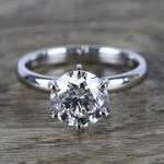 2 Carat Round Diamond in Platinum Six-Prong Ring Setting - small