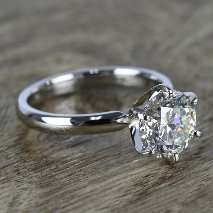 2 Carat Round Diamond in Platinum Six-Prong Ring Setting angle 3