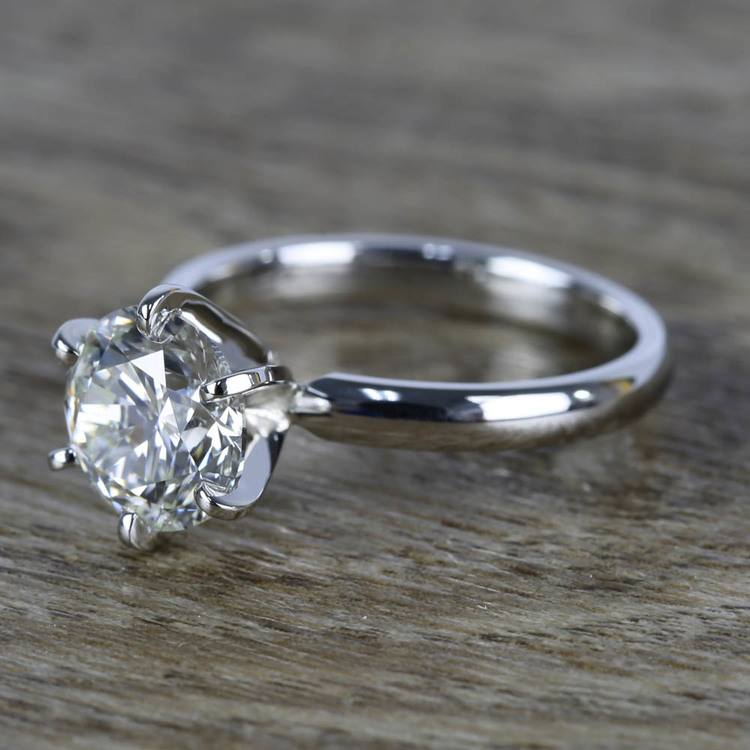 2 Carat Round Diamond in Platinum Six-Prong Ring Setting angle 2