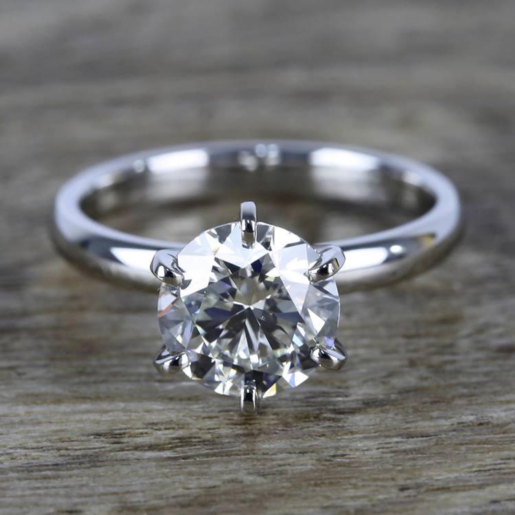 2 Carat Round Diamond in Platinum Six-Prong Ring Setting