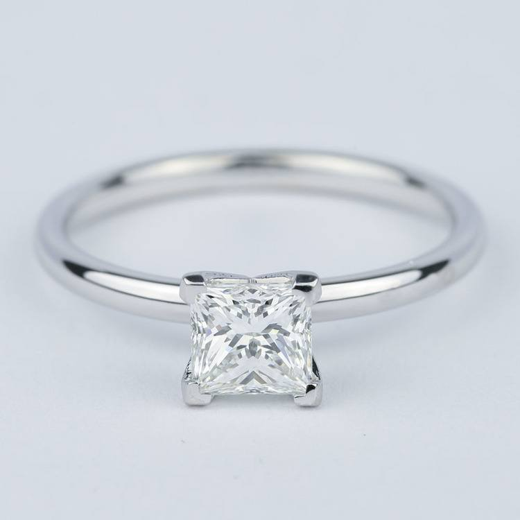 Comfort-Fit Princess Solitaire Diamond Engagement Ring (0.90 ct.)