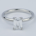 Flawless Emerald Diamond Solitaire Engagement Ring - small