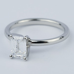 Flawless Emerald Diamond Solitaire Engagement Ring - small angle 2