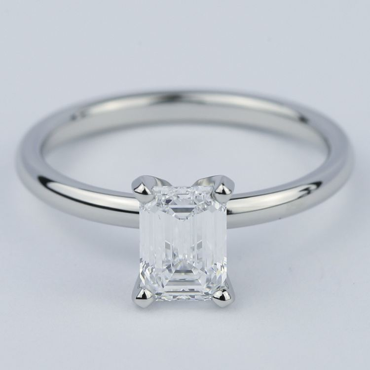 Flawless Emerald Diamond Solitaire Engagement Ring
