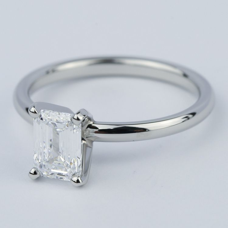 Flawless Emerald Diamond Solitaire Engagement Ring angle 2