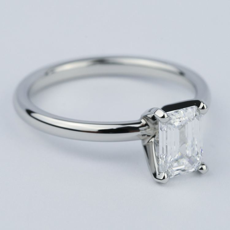 Flawless Emerald Diamond Solitaire Engagement Ring angle 3