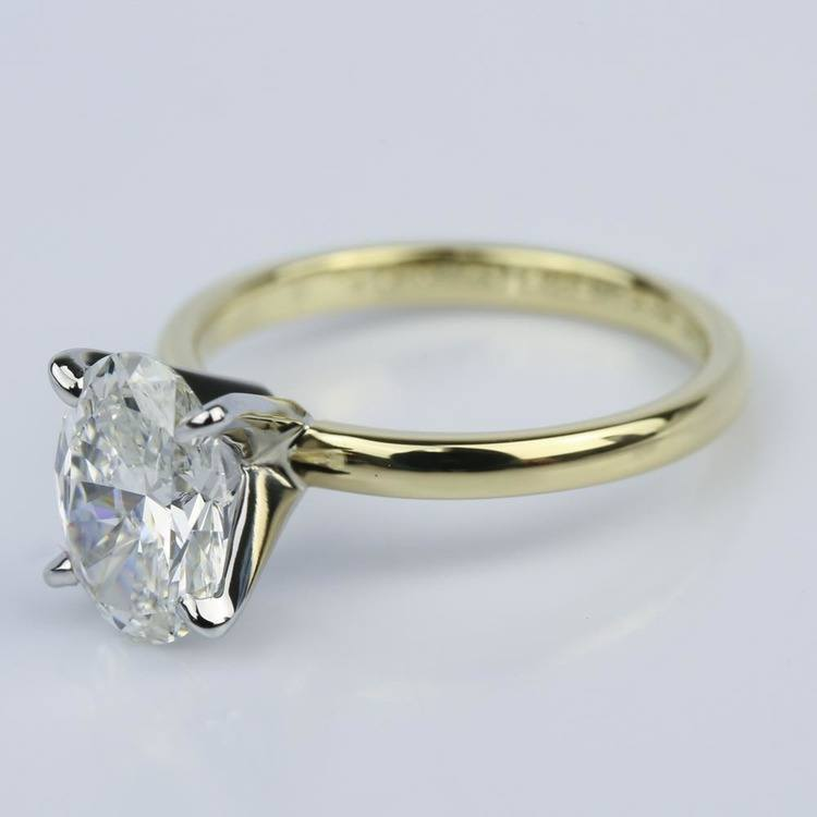 Comfort-Fit Solitaire 1.51 Carat Oval Diamond Engagement Ring angle 2