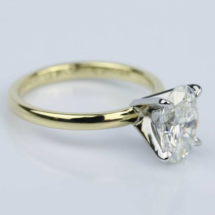 Comfort-Fit Solitaire 1.51 Carat Oval Diamond Engagement Ring angle 3