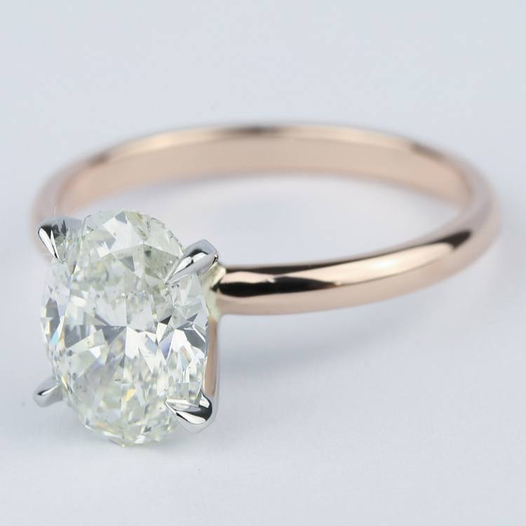 rose gold oval diamond engagement ring  2 carat