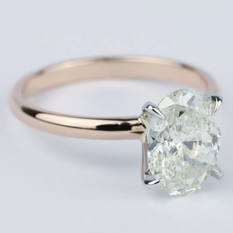 Rose Gold Oval Diamond Engagement Ring (2 Carat) angle 3