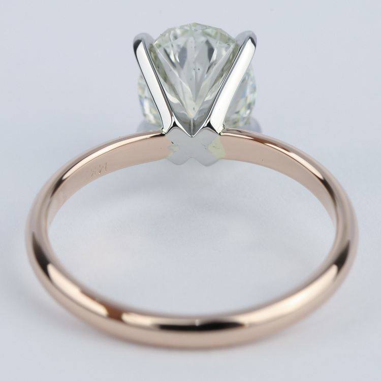 Rose Gold Oval Diamond Engagement Ring (2 Carat) angle 4
