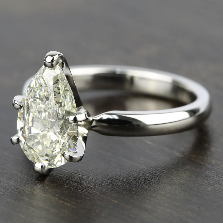 2 Carat Pear Diamond with Comfort-Fit Solitaire Ring angle 2