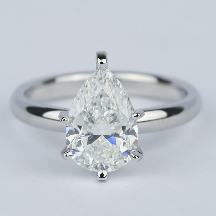 2 Carat Pear Diamond Engagement Ring in Platinum