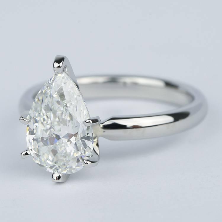 2 Carat Pear Diamond Engagement Ring in Platinum angle 2