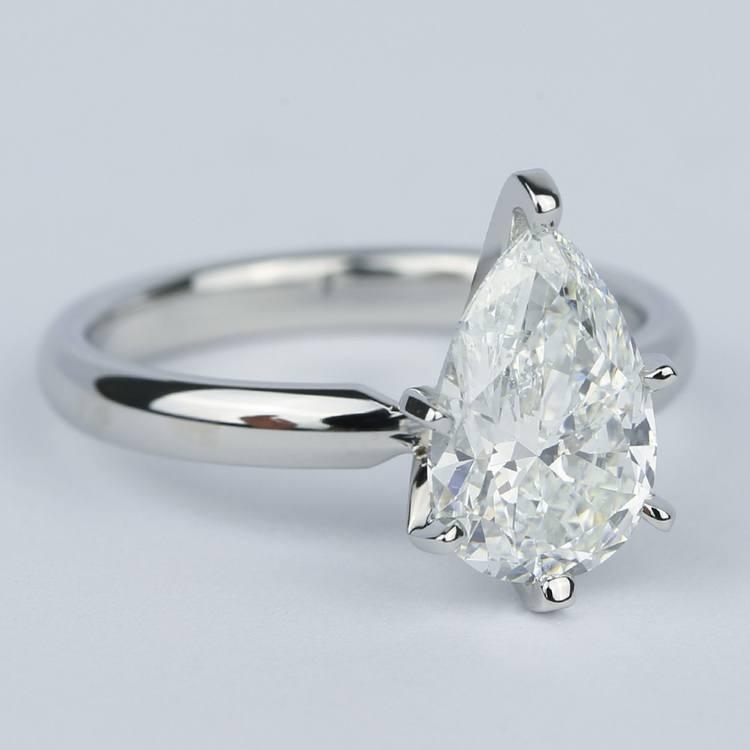 2 Carat Pear Diamond Engagement Ring in Platinum angle 3