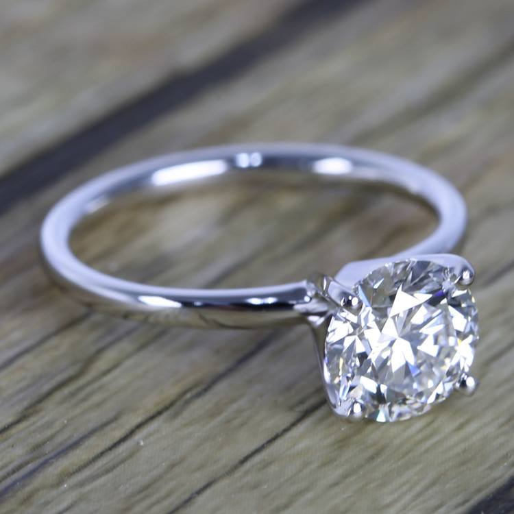 1.50 Carat Round Cut Diamond with White Gold Solitaire Setting angle 3