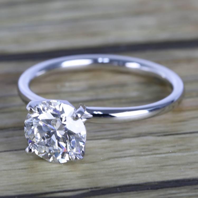 1.50 Carat Round Cut Diamond with White Gold Solitaire Setting angle 2