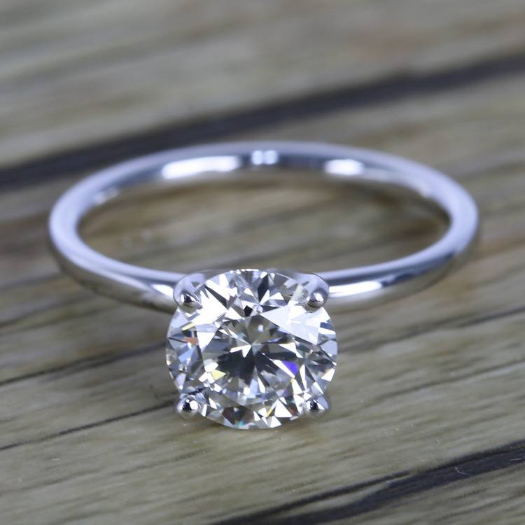 1.50 Carat Round Cut Diamond with White Gold Solitaire Setting