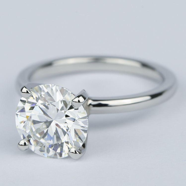 2 Carat Round Diamond Solitaire Ring in Platinum angle 2