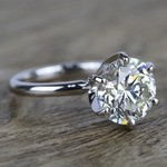 3 Carat K-Color Round Diamond Engagement Ring - small angle 3