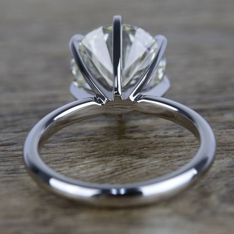 3 Carat K-Color Round Diamond Engagement Ring angle 4